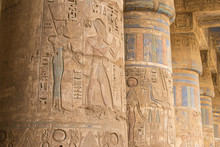 Egypt, Luxor, West Bank, The Temple Of Ramesses 111 At Medinet Habu, Columns In The Portico Of The Second Court