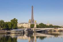 Bridge And Eiffel Tower, Paris...