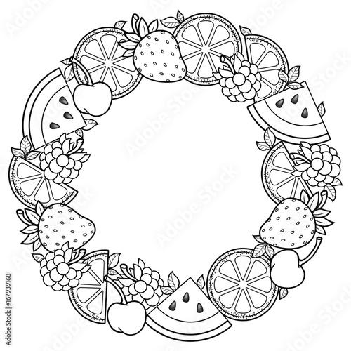 Round Fruits frame. Hello summer. Watermelon, cherry, raspberry