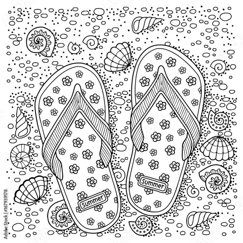 coloring book for adult, for meditation and relax of sell, flip-flop, shells, stones and sand. Black and white image on a white background