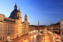 Italy, Rome, Navona Square With Sant'Agnese In Agone Church And 4 Rivers Fountain (Fontana Dei Quattro Fiumi) By Night