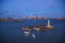 Aerial View Over  The Statue Of Liberty, Manhattan, New York City, USA