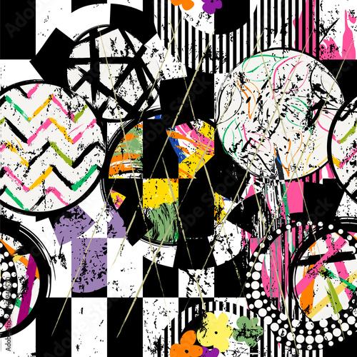 abstrakcyjny-wzor-geometryczny-w-kola-obrysy-plamy-i-liscie