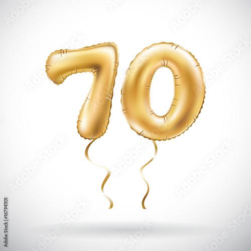 Photographie  vector Golden number 70 seventy metallic balloon