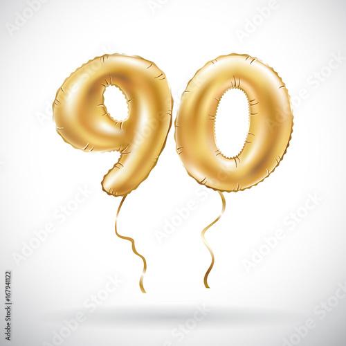 vector Golden number 90 ninety metallic balloon Canvas-taulu