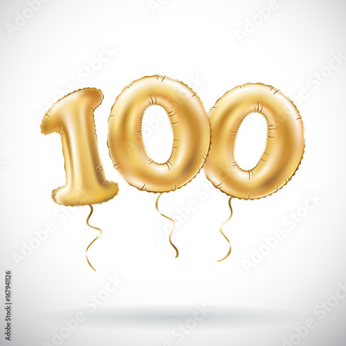 Fotografia  vector Golden number 100 hundred metallic balloon