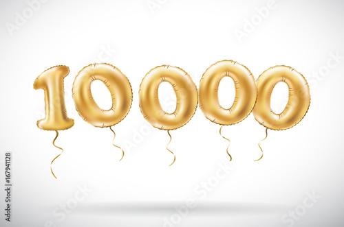 Canvastavla vector Golden number 10000 ten thousand metallic balloon