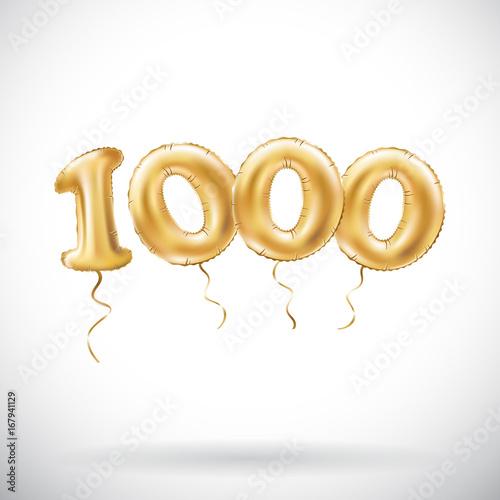 vector Golden number 1000 one thousand metallic balloon Fototapet