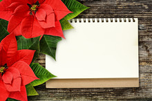 Notebook With Christmas Poinsettia Flowers