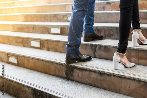 Fototapeta business peoples walk upstairs, growth to the future concept obraz na płótnie