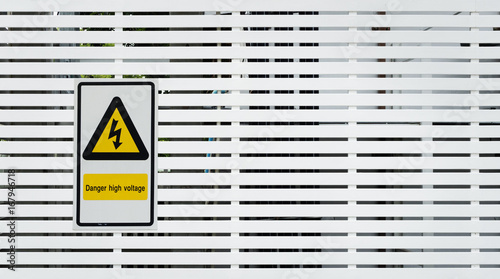 Danger high voltage sign and background photo Wallpaper Mural