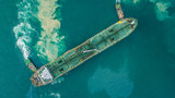 Aerial view of oil tanker ship at the port. - 167949144