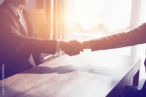 Photo Great job,Sealing deal,Successful business,Handshake,Businessman join together,Good agreement