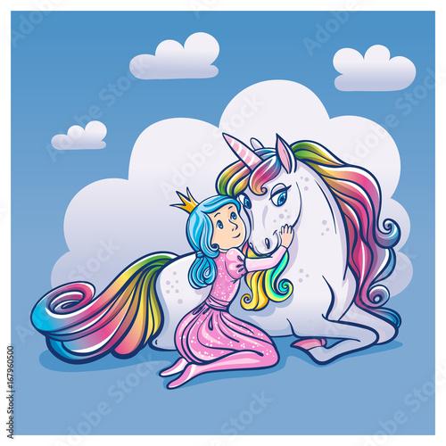 Plakat Mała Princess dziewczyna i Śliczna jednorożec, wektorowa ilustracja