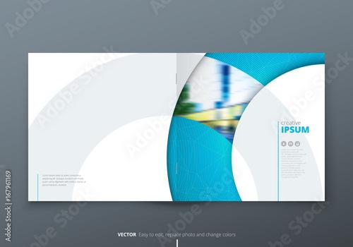 square brochure design blue corporate business rectangle template