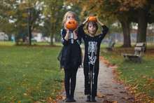 Boy And Girl In Halloween Skel...