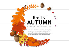 Hello Autumn Background With D...