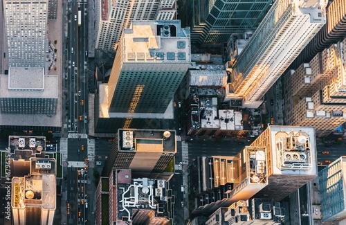 Vue aerienne Aerial view of Midtown Manhattan, NY skycrapers