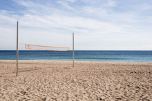 Beach Volleyball Net In Sunny Day.
