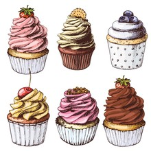 Hand Drawn Colorful Cupcakes, Set Of Vintage Food Sketches, Isolated On White Background. Vector Illustration.