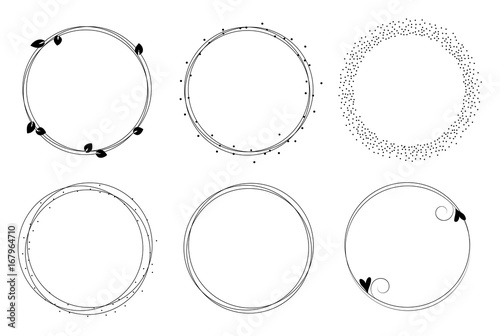 Fotografiet Set of vector graphic circle frames