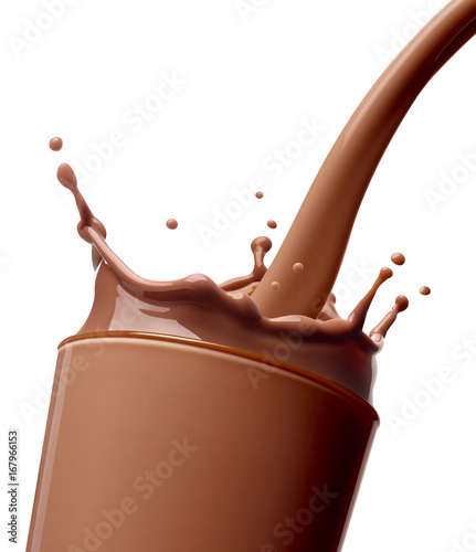 Poster Milkshake chocolate milk drink splash glass