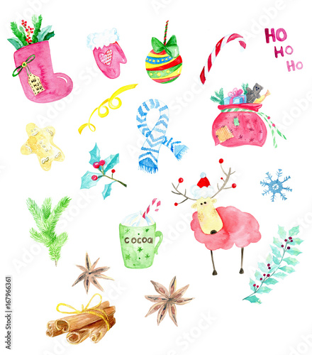 christmas winter collection watercolor hand painted christmas new year clip art