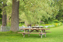 Wooden Picnic Table In Scenic ...