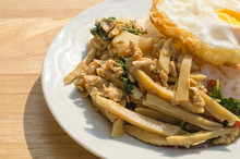 Spicy Fried Chicken With Basil Leaves, Bamboo Shoot And Basil.