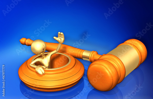 Photo Law Concept The Original 3D Character Illustration In A Hole