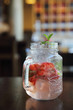 strawberry cocktail on wood background
