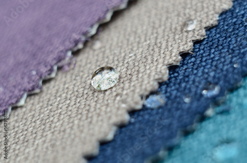 30b8773e Close up water drop on gunny textile. Concept for easy clean, waterproof  surfaces