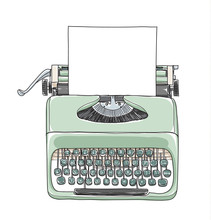 Mint Green Vintage  Typewriter Portable Retro With Paper  Hand Drawn Vector Art Illustration