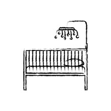 Monochrome Blurred Silhouette Of Baby Crib With Wood Railing