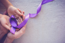 Hands Holding Purple Ribbons, ...