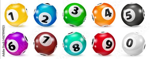 Fotobehang Bol Illustration Colorful Bingo. Lottery Number Balls. Colored balls isolated. Bingo ball. Bingo balls with numbers. Set of colored balls. Realistic Illustration. Lotto concept.