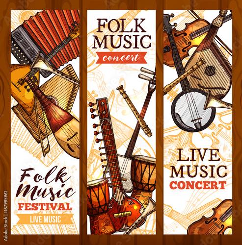 Fototapety Muzyka folk-music-banner-with-ethnic-musical-instrument