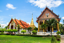 Wat Phra That Chang Kham  , Muang District, Nan Province, Thailand.The Temple Is Open To The Public. A Temple Built More Than 300 Years Of Heritage Thailand.