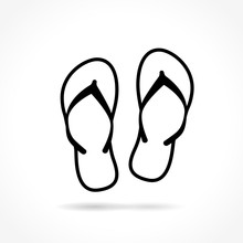 Flip Flop Icon On White Backgr...