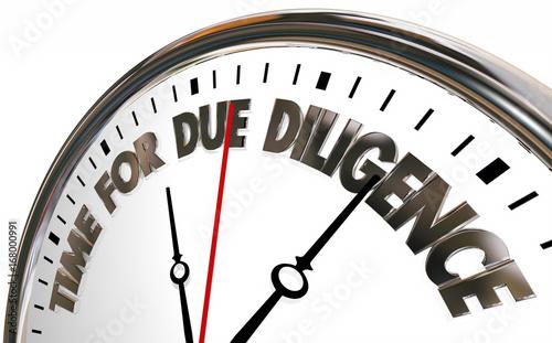Obraz na plátně Time for Due Diligence Clock 3d Illustration