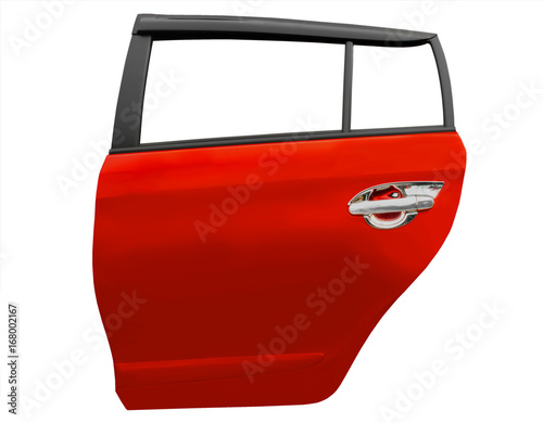 Photo  Red car door isolated on white background with clip path