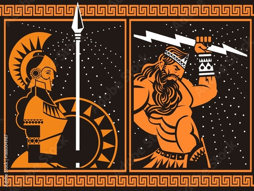 athena minerva and jupiter zeus with ray orange and black vintage painting Wallpaper Mural