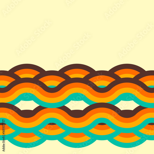 Abstract retro background, digital lines and circles, design70s. Wallpaper Mural
