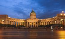 St. Petersburg, RUSSIA MAY 23 2017: Night Scene Of Kazan (Kazanskiy) Cathedral In Saint-Petersburg. Russia. Located On Nevsky Prospekt In The Center Of The City.
