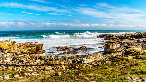 Waves of the Atlantic Ocean breaking on the rocky shores of Cape of Good Hope in Canvas-taulu
