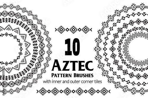 Aztec vector pattern brushes with inner and outer corner tiles Canvas Print
