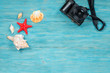 sea creatures and photo camera over wooden planks, summer memories concept