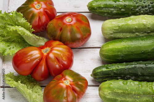 Vegetables close-up on a light board. Canvas Print