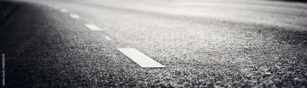 Fototapety, obrazy: black asphalt road and white dividing lines