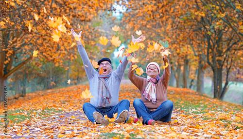 Plakat Starsza para pełno radość w jesieni
